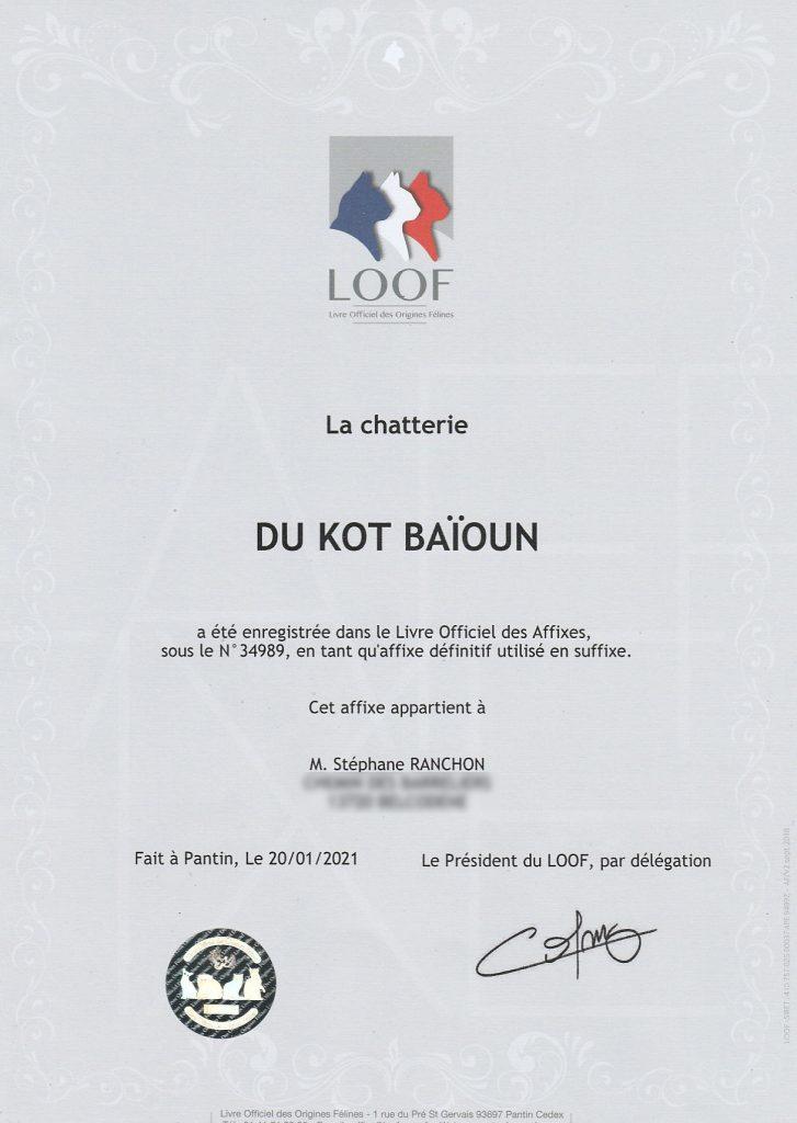 Suffixe Loof chatterie du kot Baioun